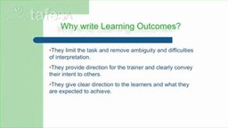Part 38 - Why write Learning Outcomes?